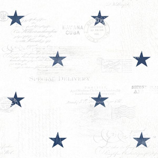 Stjärnor och text i marin stil från kollektionen Hav & Land 49330. Klicka för att se fler härliga tapeter för ditt hem!