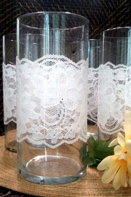 Glass Vases With Lace Trim FOR Wedding Reception Bridal Decor SET OF 12 | eBay