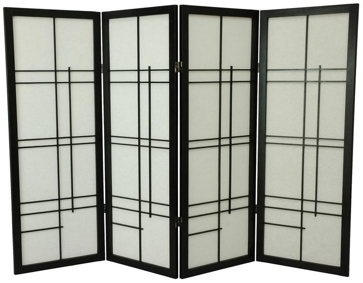 Buy Low Eudes Shoji Screen In Black W Lattice Room Dividers Oriental Furniture Divider