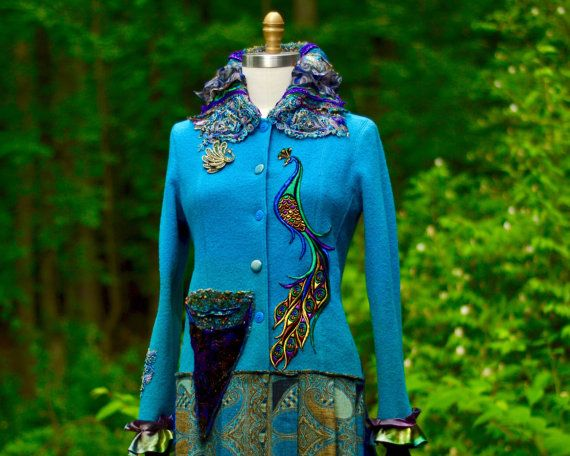 Peacock long sweater COAT. Size Medium. Ready to by amberstudios
