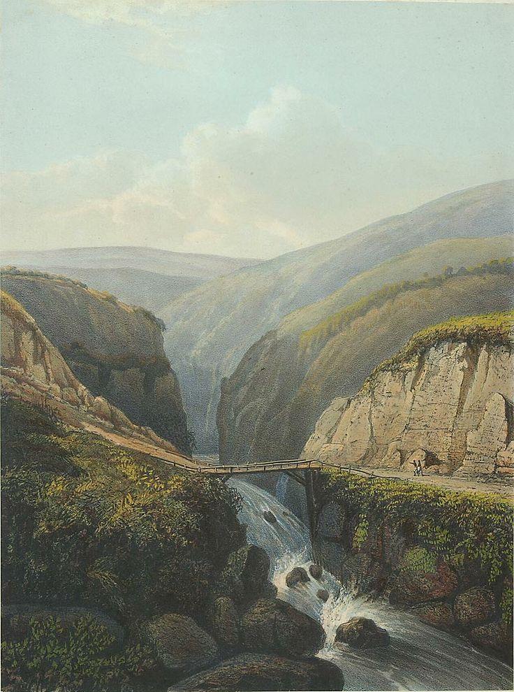 Een bergkloof met de rivier Brandas (Brantas). Abraham Salm, 1865-1872. papier, 35,9 x 26,6 cm