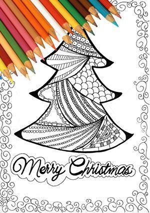 Albero di natale pagina da colorare stampabile disegno zentangle biglietto di natale download istantaneo bianco e nero natale ragazzi adulti