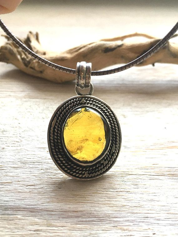 Baltic Amber Pendant Necklace Natural Baltic Amber, Amber and silver neckleace with pendant, Oxide Silver and Amber Neckleace, Amber gift
