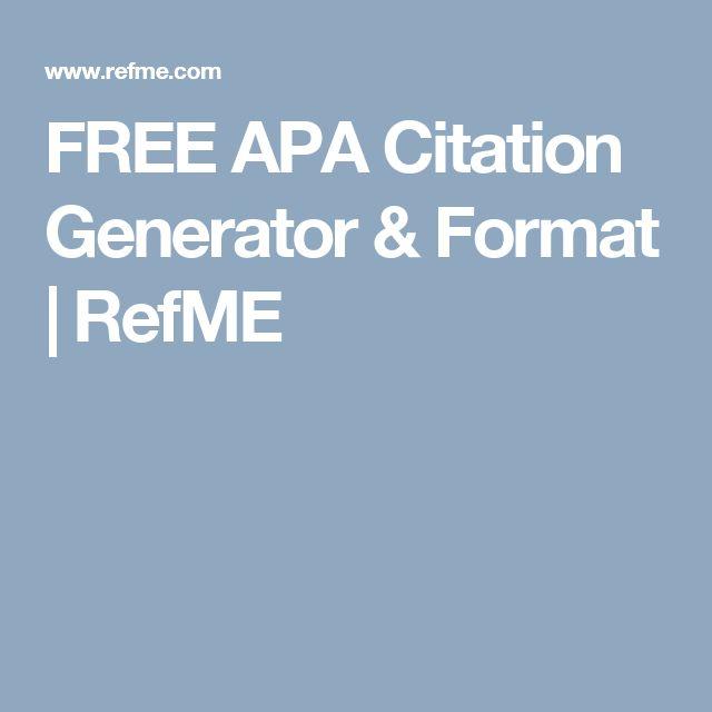 FREE APA Citation Generator & Format | RefME