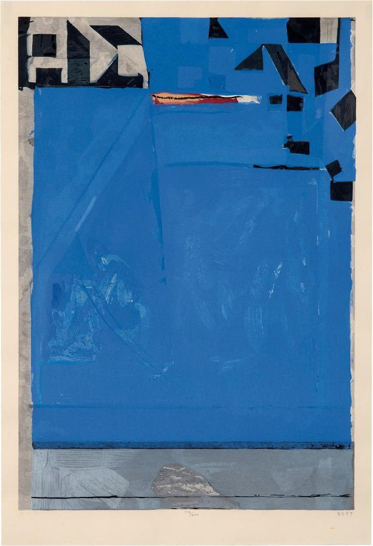 Richard Diebenkorn Blue with Red. Published by Crown Point Press, San Francisco; printed by Tadashi Toda, Shiundo Print Shop, Kyoto 1987. #73 of 200. Color woodcut on Echizen Kozo Moshi paper