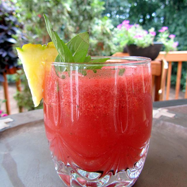 Watermelon Pineapple Agua Fresca with Thai Basil - smoothie?