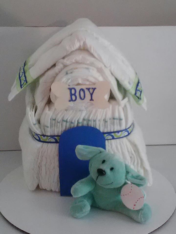 Diaper Cake Dog House Baby Shower Gifts Pinterest