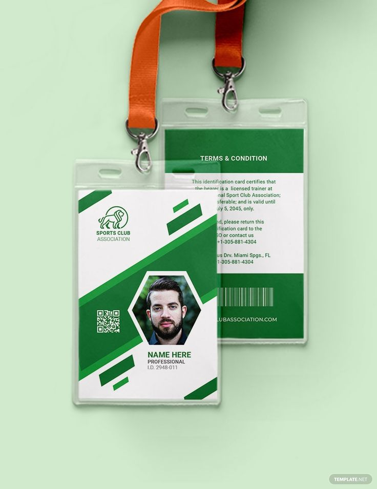 Blank sports id card template word psd indesign