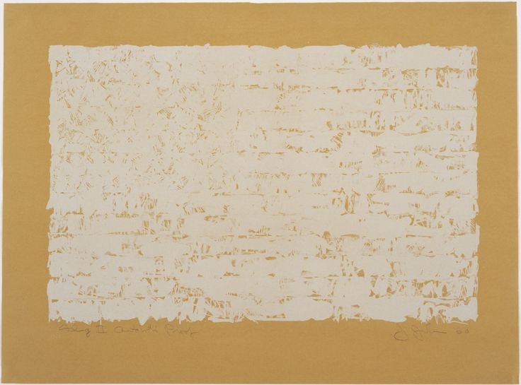 """Jasper Johns. Flag II. 1960. Lithograph. composition (irreg.): 17 11/16 x 27"""" (45 x 68.6 cm); sheet: 23 5/8 x 32 1/16"""" (60 x 81.5 cm). Universal Limited Art Editions, West Islip, New York. Universal Limited Art Editions, West Islip, New York. 3 artist's proofs outside an edition of 7. Gift of Leo and Jean-Christophe Castelli in memory of Toiny Castelli. 348.1988. © 2017 Jasper Johns and U.L.A.E. / Licensed by VAGA, New York, NY. Drawings and Prints"""
