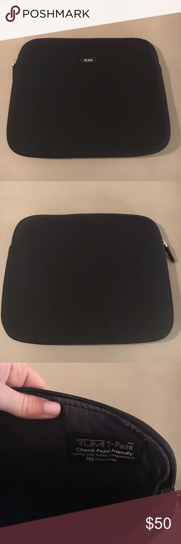 "Tumi Laptop case Black Tumi Labtop case never used!!! Made with neoprene - this is he perfect lap top sleeve. Measures 13"" long x 10"" high x 1"" deep. Tumi Accessories Laptop Cases"