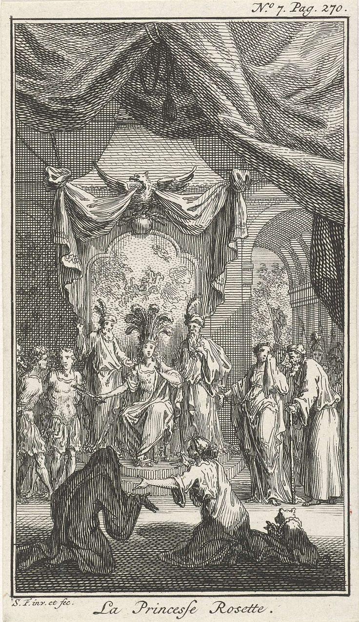 Simon Fokke | Twee figuren knielen voor een koning, Simon Fokke, 1722 - 1784 | Illustratie uit het sprookje La princesse Rosette van Mme d'Aulnoy. Twee figuren knielen voor een tronende koning wiens kroon getooid is met veren. De koning wordt geflankeerd door twee bebaarde mannen en houdt een scepter vast. Rechts voor hem staat een gehandboeide vrouw met zakdoek. Prent rechtsboven gemerkt: No. 7. Pag. 270.