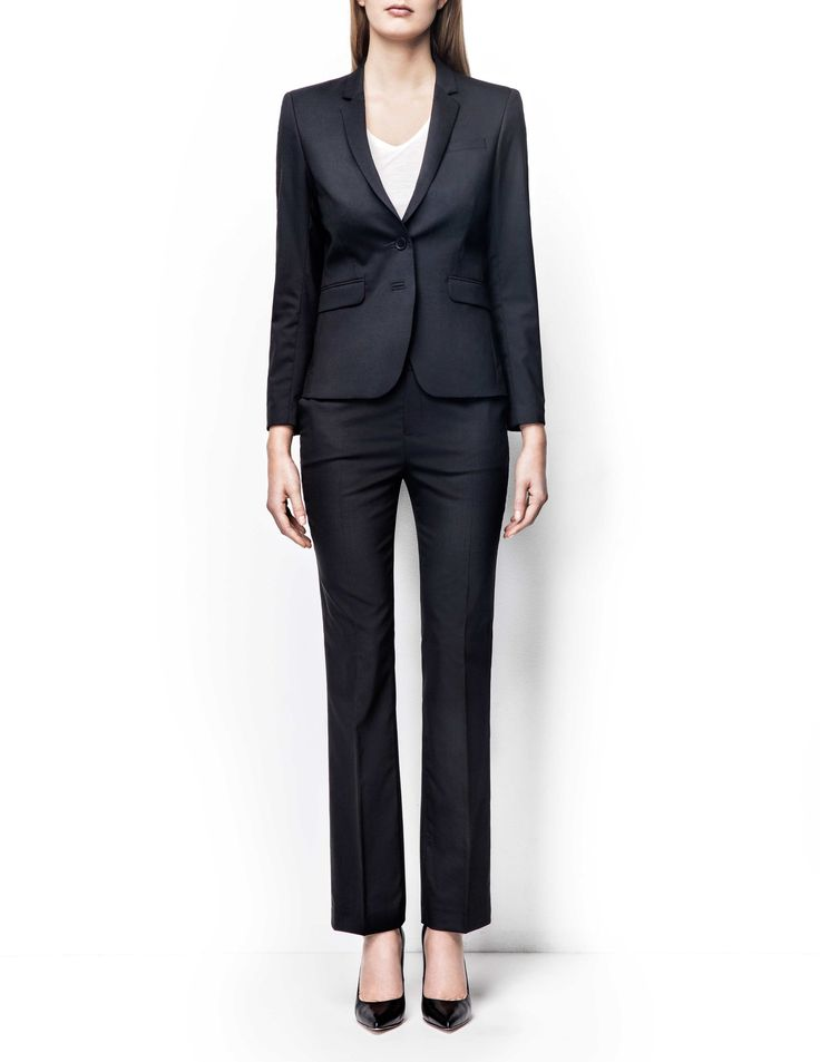 Emika blazer - Women's black blazer in wool-stretch. Fully lined with two-button fastening. Features two front paspoil pockets. Semi-slim fit. For a complete suit look wear it with Yulia trousers