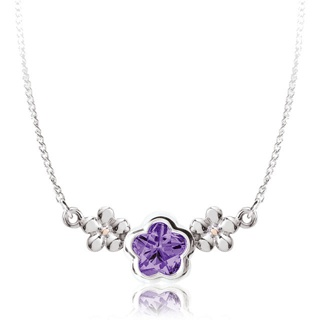 BFlower Purple CZ Flower Childrens Necklace in Sterling Silver from www.thejewelryvine.com