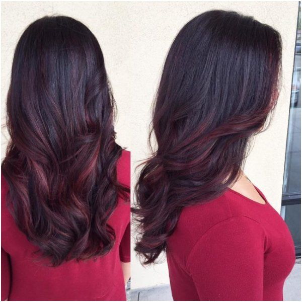 28 Black Hair With Burgundy Highlights Technique Burgundy Balayage Hair Streaks Balayage Hair
