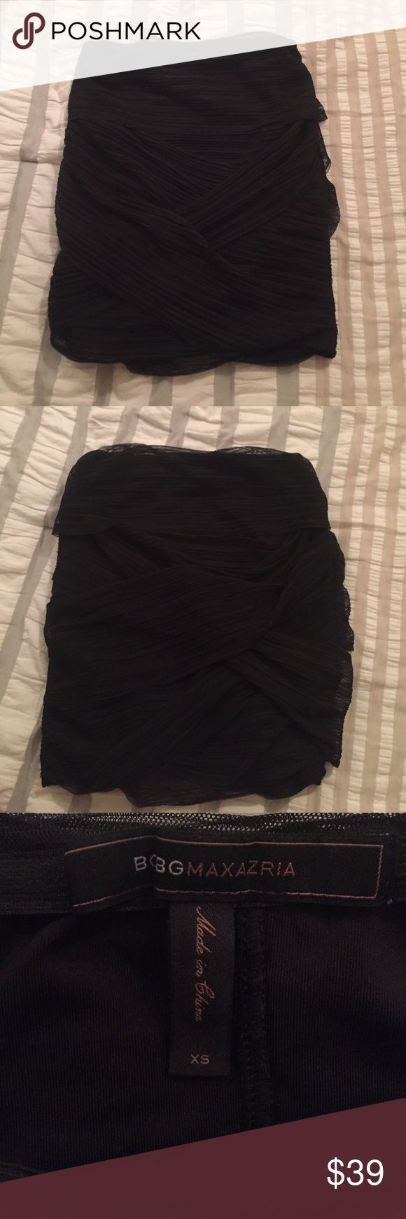 DONATING SOON BCBG black mesh bandeau skirt Black mesh bandeau skirt in very good condition. Size XS. BCBG. BCBG Skirts Mini