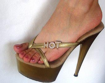 """VIP 6 pulgadas oro hecho a mano """"Caliente"""" de diamantes de imitación tanga mula alta sandalias de tacón plataforma mujer zapatos"""