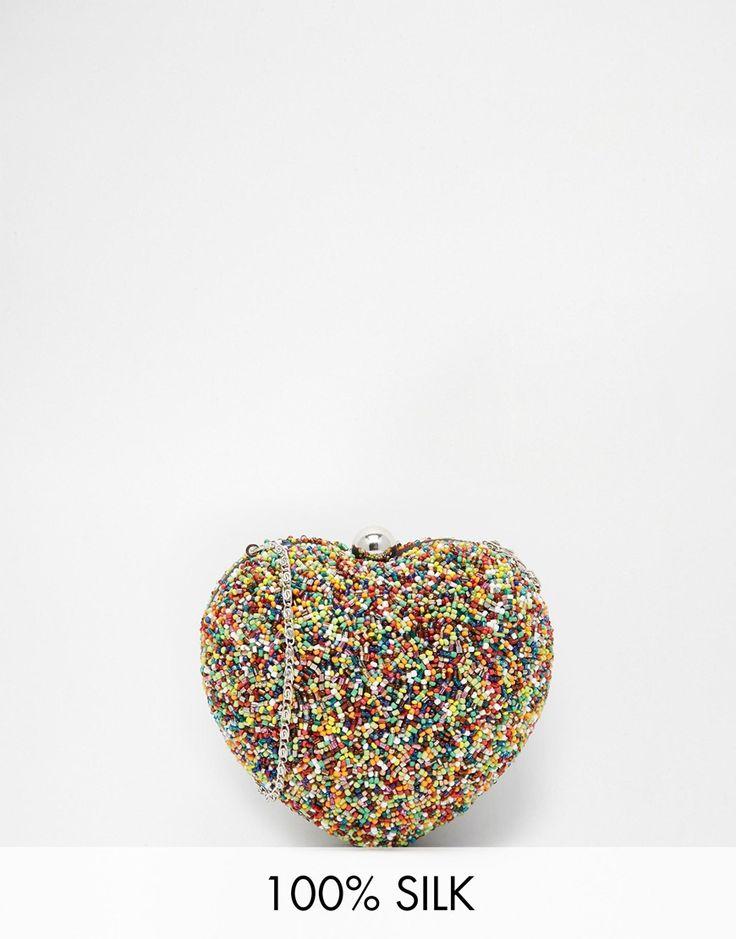 Moyna Heart Clutch in Multicoloured Beads