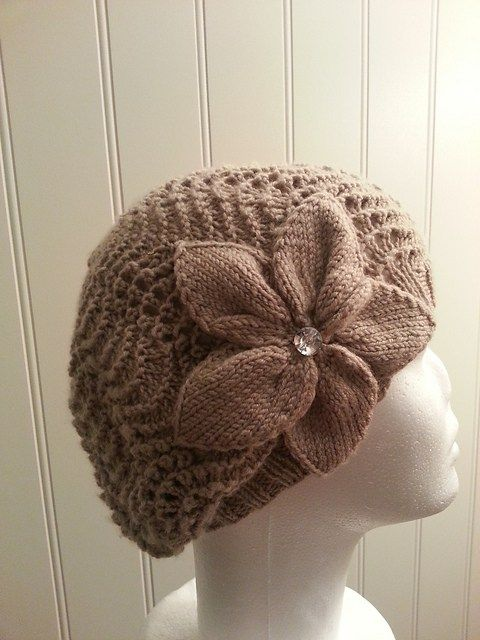Free knitting pattern for slightly slouch hat with flower For Joanna and more free slouchy hat knitting patterns