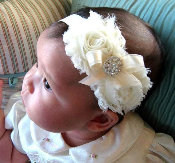 Vintage Christening Headband  Baby Baptism by CutieButtsBoutique, $15.00