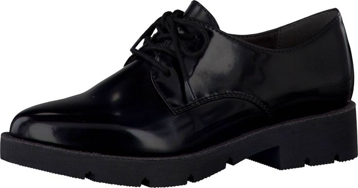 Die klassischen Schnürschuhe von Tamaris @aboutyoude sind perfekt für schicke Anlässe oder für das Büro. Die glänzende Lackleder-Optik gibt dem Schuh ein hochwertiges Aussehen. Der Blockabsatz und die Profilsohle sorgen für ein bequemes Laufgefühl und strecken das Bein. Der schöne schwarze Farbton lässt sich hervorragend Kombinieren.