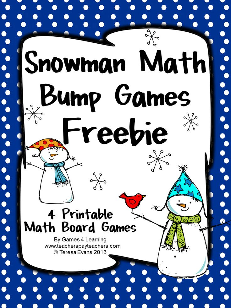 FREEBIE - Snowman Math Bump Games  from Games 4 Learning gives you 4 Snowman Math Board Games that are perfect for winter or Christmas math activities. These are ideal as a math center or Christmas or winter homework.