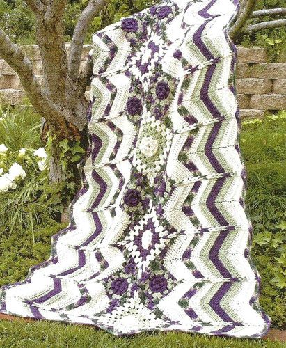 Crochet Pattern for a PLUM GRANNY RIPPLE AFGHAN