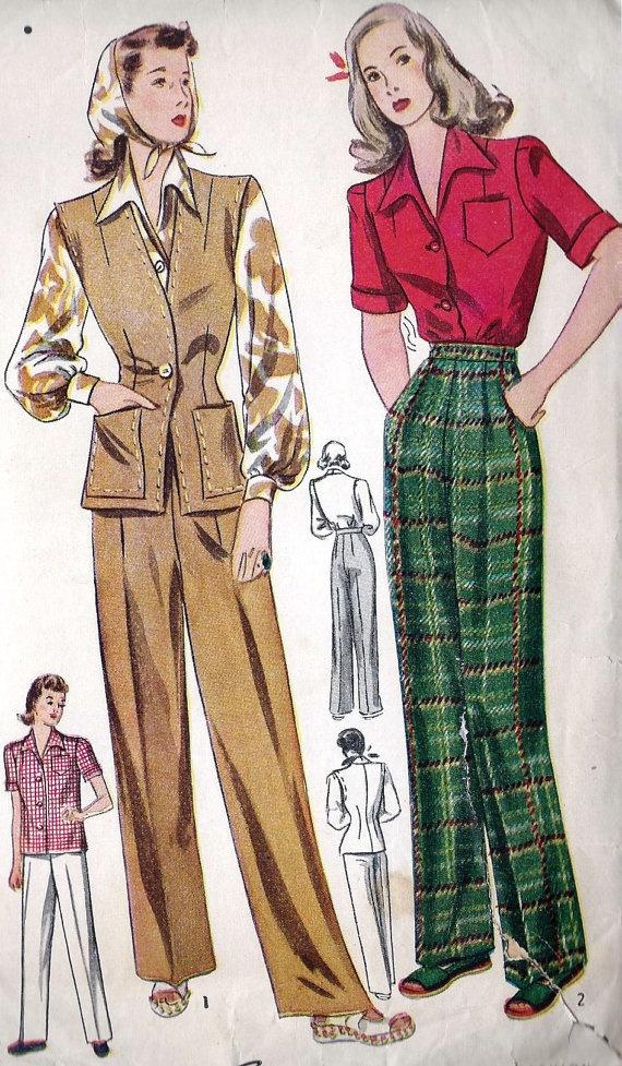 1940s Misses Pant Suit Blouse and Jerkin