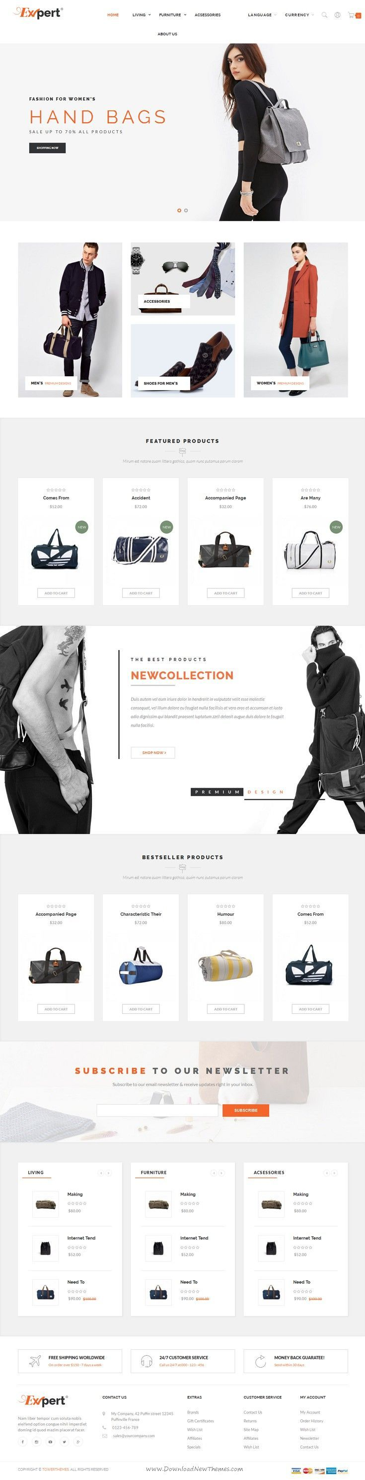 Expert is lattest Responsive Opencart Theme for multipurpose #eCommerce #websites with 4 homepage layouts and great features. #fashionstore Download Now!