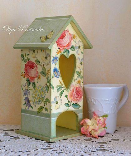 """Домик для чайных пакетиков """"Аромат цветов"""" - чайный домик,Декупаж,для дома и интерьера"""