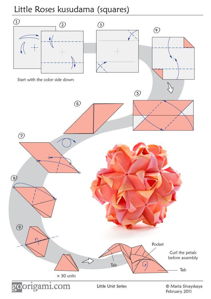 Kusudama, modular flower ball origami, without glue.