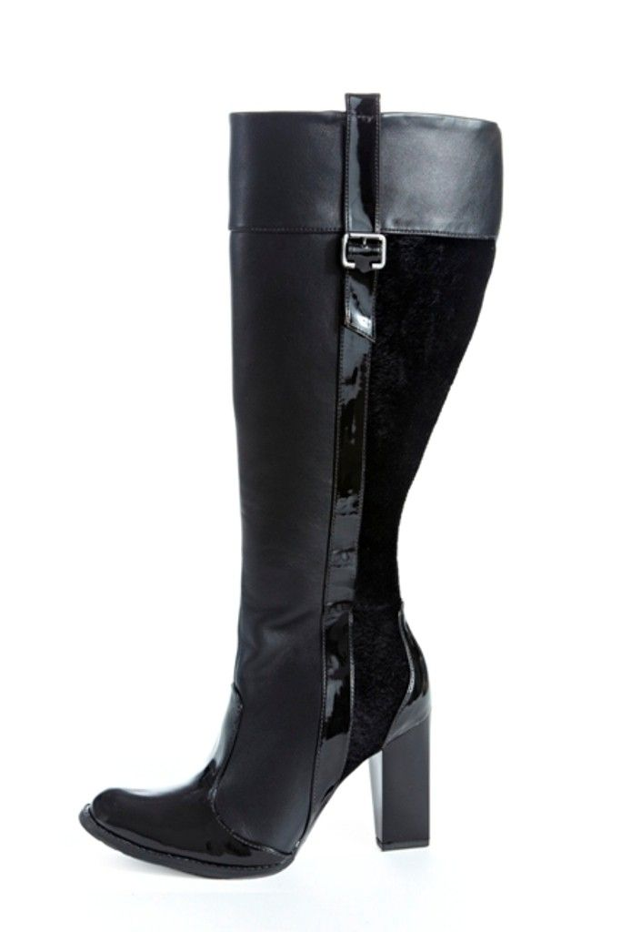 "This super sleek and sexy knee high boot is a mix of PU, patent PU and faux pony hair upper. 2.5"" heel height with rubber sole.    Only $185!"