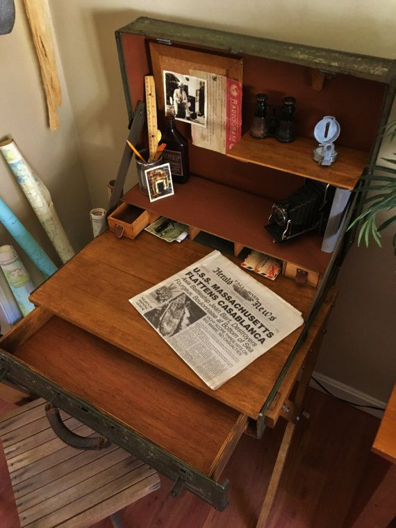 Escritorio de escritorio tabla de la maleta maleta Vintage