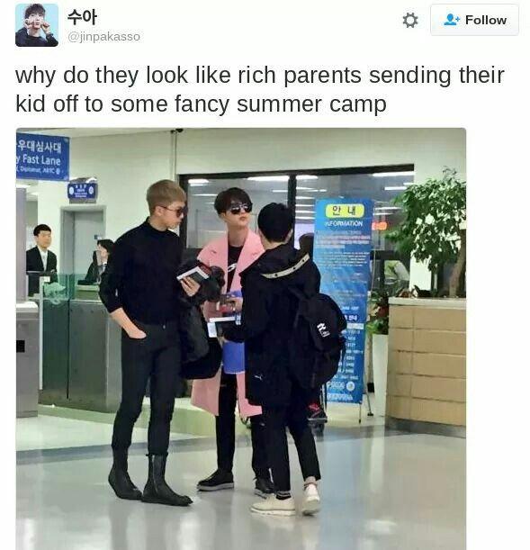 They are actually looking like a family though Trad: ¿Por qué parecen padres ricos que envían a su hijo a algún campamento de verano de lujo?