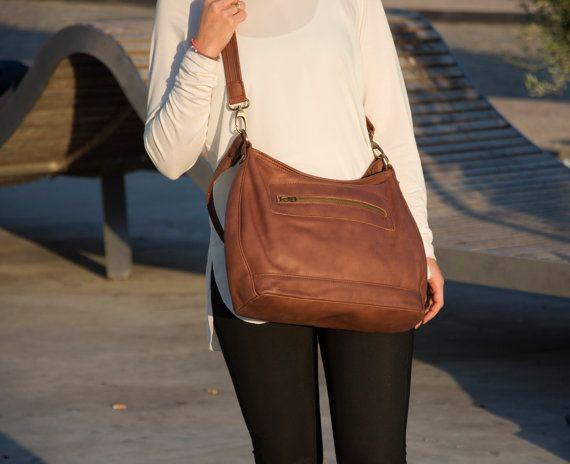Brown leather shoulder bag - Soft leather bag - Women handbags -  LUMIN bag