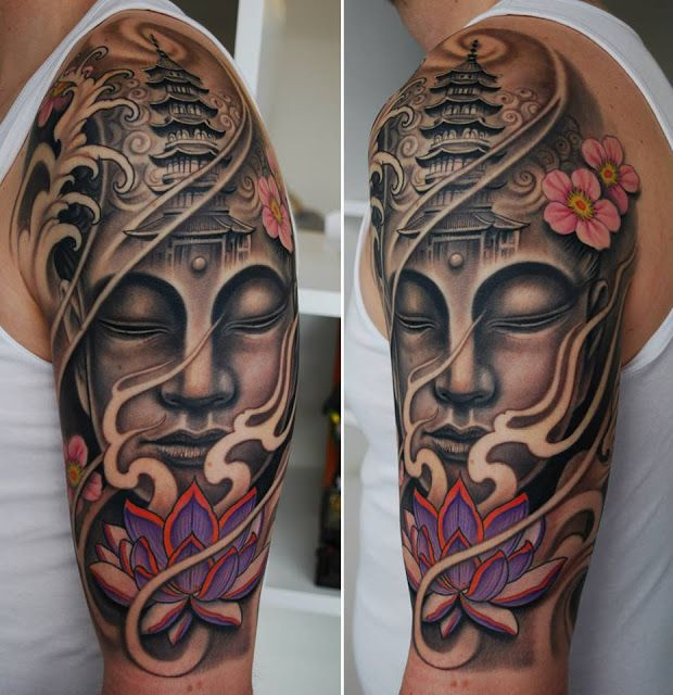 Buddha and minaret sleeve tattoos