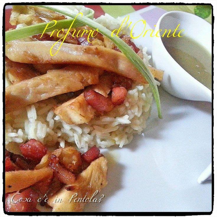 Riso basmati, pollo e salsa di cipolle e curry