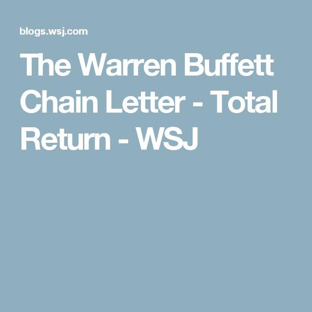 The Warren Buffett Chain Letter - Total Return - WSJ
