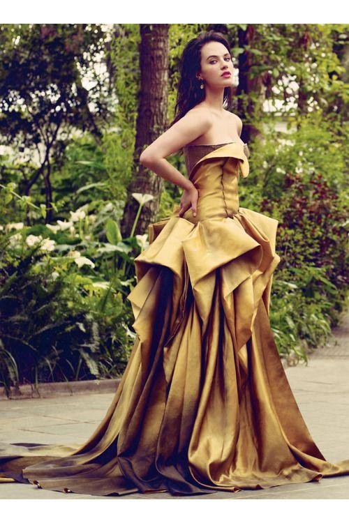 Jessica Brown Findlay by Jason Bell for British Vogue (August 2011).  Bottega Veneta duchess silk strapless gown.