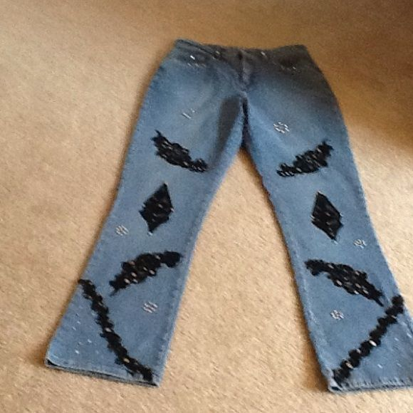 French Dressing Jeans 5 inch zipper, NWOT  Denim with jewels and studs designs on jeans.  Never worn.  Size 6 misses.  31 inch inseam French Dressing, Paris Jeans