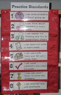 """Freebie; """"I can statements"""" for each of the 8 Math Practice Standards. Use these during math discussions and lesson wrap-ups. Post them in your room for students to refer to. There is also a small copy for students to glue into math journals."""