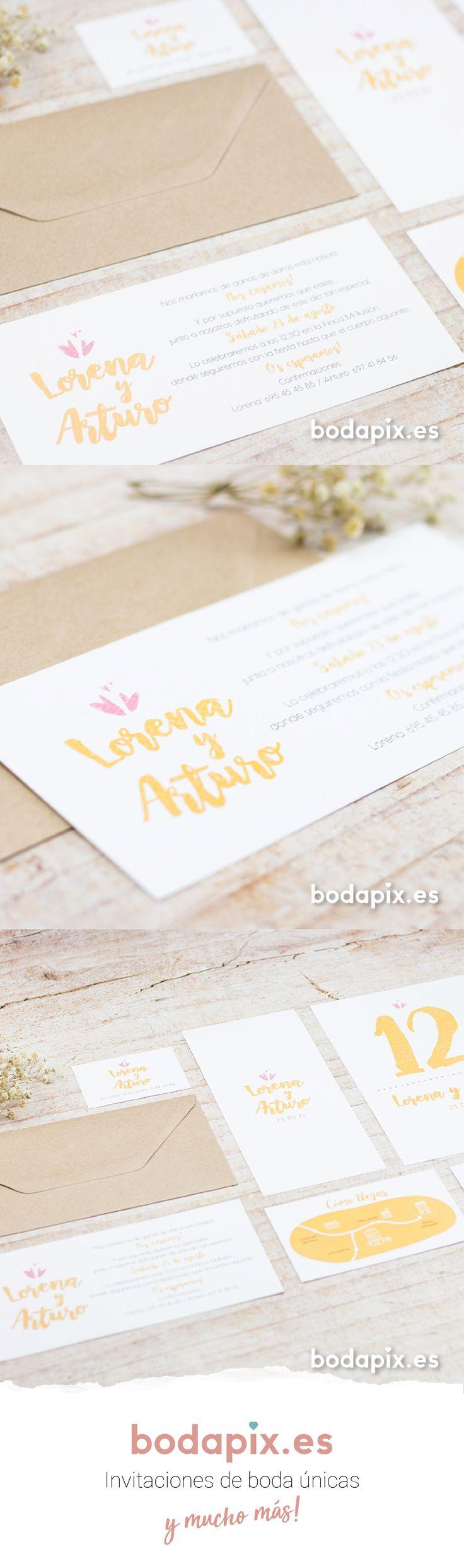 Invitación de boda lettering ideal para parejas sencillas – Modelo Smile 1 – Colección Bodapix #bodapix #bodas #invitaciones #wedding #weddinginvitations #cards