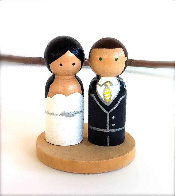 Wedding Cake Topper with Mini Circle Wood Stand Custom Bride and Groom Husband Wife Wood Peg Doll Wooden Personalized Cute Cupcake Toppers. $55.00, via Etsy.