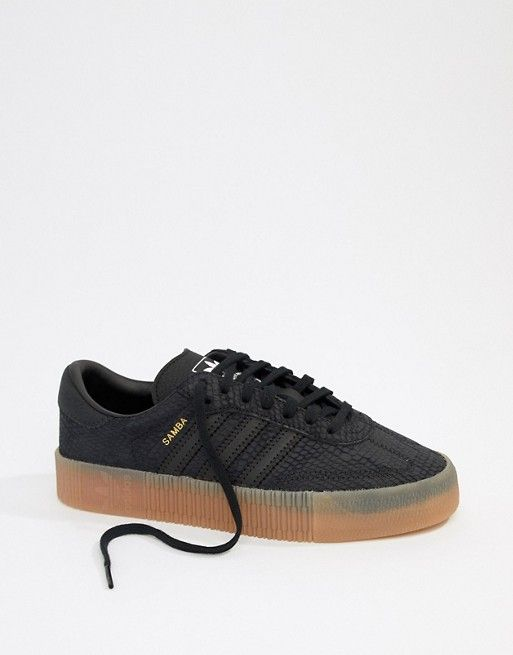 587c10813b0d adidas Originals Samba Rose Sneakers In Black With Gum Sole