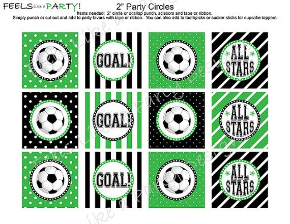 Soccer Cupcake Toppers - Instant Download