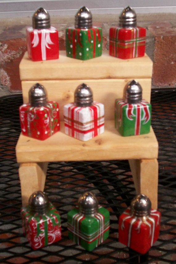 Christmas Package Hand-painted Glass Salt and Pepper Shakers by Lisa Hayward. $9.95, via Etsy.