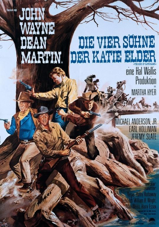 THE SONS OF KATIE ELDER (1965) – John Wayne – Dean Martin – Martha Hyer – Michael Anderson Jr. – Earl Holliman – Jeremy Slate – Music by Screenplay by William H. Wright, Alan Weiss & Harry Essex – Based on Produced by Hal Wallis – Directed by Henry Hathaway – Paramount - German Movie Poster.