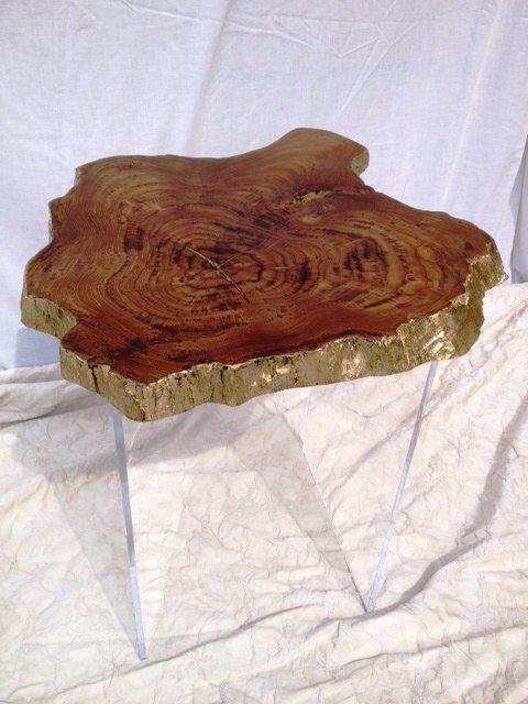 Teak Live Edge Coffee Table With Gold Leaf U0026 Metallic Glaze, Raw Edge,  Furniture, End Table