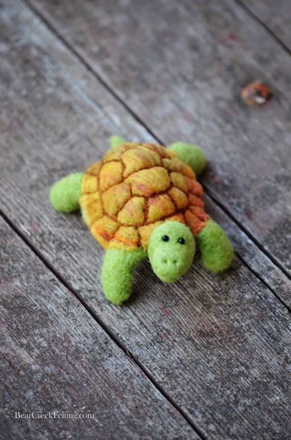 Needle Felted Turtle by BearCreekDesign on Etsy