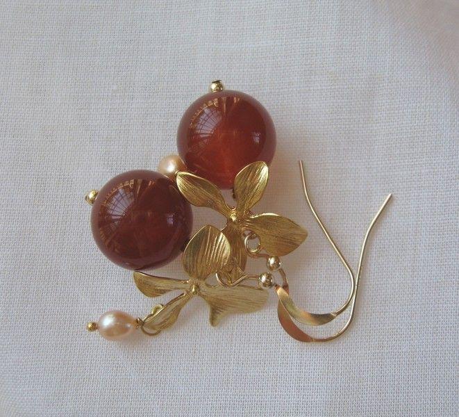 14K *gloeiend rode* agaat parel oorbellen GF   van atelierkannenberg op DaWanda.com