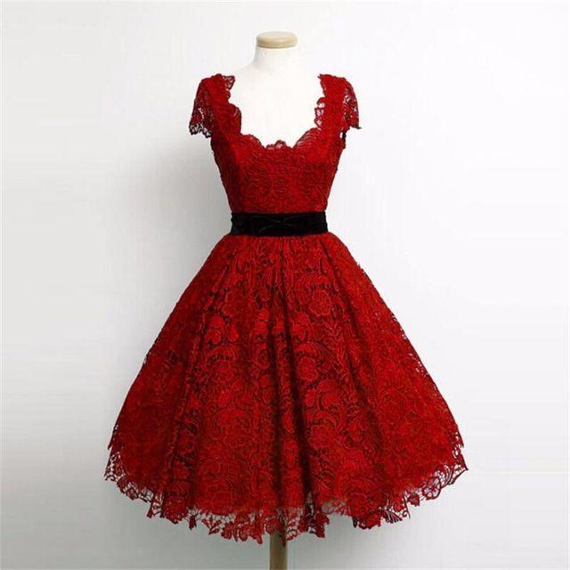 Encantador Escuro Vermelho Do Laço da Luva do Tampão do baile de Finalistas Vestidos 2017 Elegante na altura do joelho a line plus size vestidos de celebridades vestido de gala curto WH68